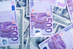 Background Of Ddollars And Euro Banknotes Royalty Free Stock Images