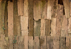 Background of decay wood  on  old cottage wall  surface Royalty Free Stock Photography