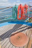 Background deck sailing ship Stock Photo
