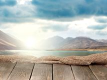 Background. Deck surface advertisement photomontage wallpaper page Stock Photo