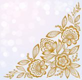 Background decorated with beautiful carved corner gold flowers Stock Images