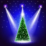 Background with Decorated Christmas Tree under Spotlights. Beautiful Christmas Background with Decorated Christmas Tree under Spotlights on Stage. 3D Vector stock illustration