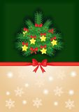 Background with decorated fir tree. Congratulatory background with a red bow and decorated fir tree Royalty Free Stock Photo