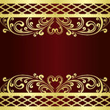 Background decorated a gold vintage border. Royalty Free Stock Photo