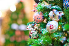 Background with decorated new year tree Stock Photography