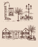 Background decorated with old town views and street cafes. Series of backgrounds decorated with old town views and street cafes. Hand drawn Vector Illustration vector illustration