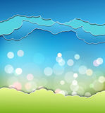 Background with decoration: sun, blue sky and clouds Stock Image
