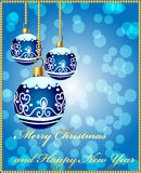 Background with decorative blue ball. Illustration background with decorative blue ball on cristmas and new year royalty free illustration