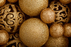 Background of decorative christmas balls. Top view Royalty Free Stock Images