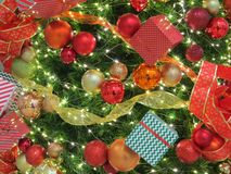 Christmas tree ornaments. Background of a decorative christmas tree Royalty Free Stock Image