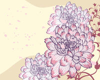 Background with decorative chrysanthemums stock illustration