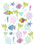 Background with decorative fishes Stock Photo