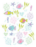 Background with decorative fishes Royalty Free Stock Images