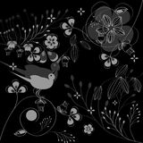 Background with decorative flowers. Monochrome illustration Stock Images