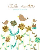 Background with decorative flowers and birds and with lettering Hello summer Stock Photos