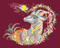 Background with decorative goat Stock Photography