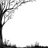 Background with decorative tree. Black-and-white background with decorative tree royalty free illustration