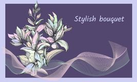 Background with delicate painted flowers. Elegant refined text frame. Spring contour flowers. Vector illustration vector illustration