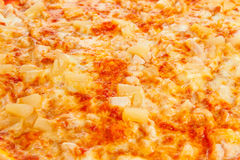 Background from delicious classic Hawaiian Pizza with chicken, pineapple, oregano and cheese Royalty Free Stock Images