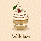 Background with delicious cupcake vector illustration