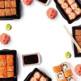 Background of delivere maki sushi with copy space Stock Image