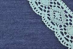 Background denim texture with lace pattern Royalty Free Stock Images