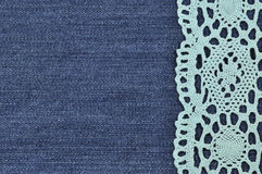 Background denim texture with lace pattern Stock Photography
