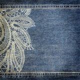 Background denim texture with lace pattern Royalty Free Stock Photos