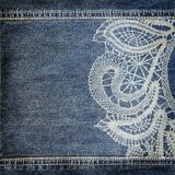 Background denim texture with lace pattern Royalty Free Stock Photo
