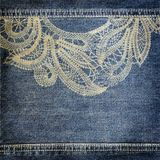 Background denim texture with lace pattern Stock Photo