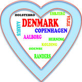 Background. Denmark in the Europe and Denmark's cities as background, with form of the heart Vector Illustration