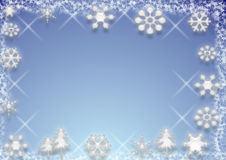 Background / design. A blue and white design with snowflakes, sparkles and winter trees. Can be used as a background too Royalty Free Stock Photo