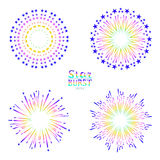 Background design with abstract fireworks and salute. Stock Images