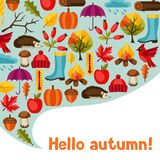 Background design with autumn icons and objects.  Stock Photo