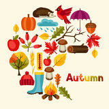 Background design with autumn icons and objects.  Stock Images