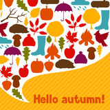 Background design with autumn icons and objects.  Stock Photography