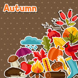 Background design with autumn sticker icons and Stock Images