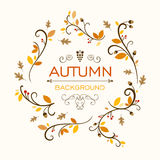 Background Design with Autumnal Leaves. Illustration of a Fall Background Design with Autumnal Leaves Stock Photo