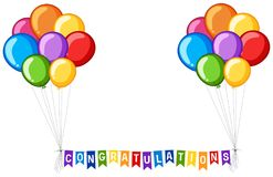 Background design with balloons and word congratulations Stock Photos