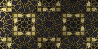 Islamic decorative pattern with golden artistic texture. stock photo
