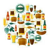 Background design with beer icons and objects Stock Photo