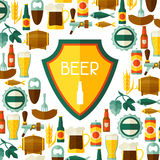 Background design with beer icons and objects Royalty Free Stock Image