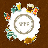 Background design with beer sticker icons and Royalty Free Stock Photos