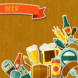 Background design with beer sticker icons and Royalty Free Stock Images