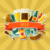 Background design with beer sticker icons and Royalty Free Stock Photo