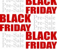 Background design for black friday pre-sale. Good news: Time for black friday pre-sale! Shop now. Great offers Stock Photos