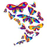 Background design with butterflies. Colorful bright abstract insects vector illustration