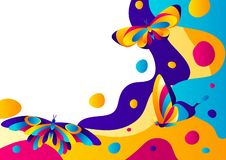 Background design with butterflies. Colorful bright abstract insects stock illustration