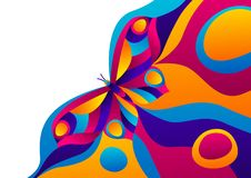 Background design with butterfly. Colorful bright abstract insect stock illustration