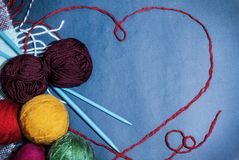 Background design and cards, handmade, knitting, heart and love, happy grandparents day, mothers Day royalty free stock images